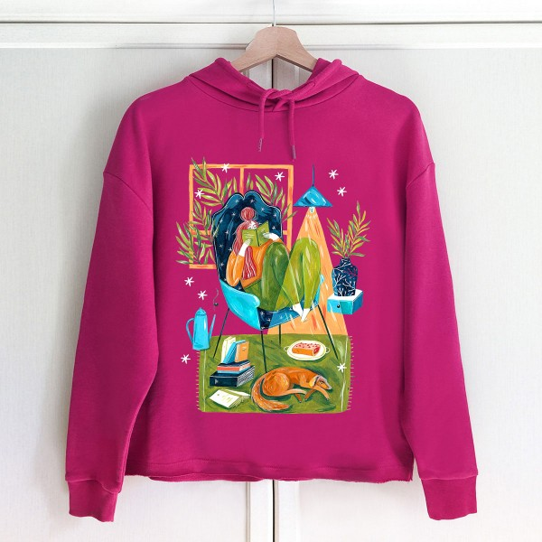 GODDESS OF COSY AND CHILL Hoodie / Raspberry