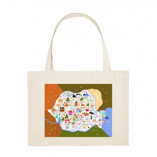 Map of Romania / Shopper Bag