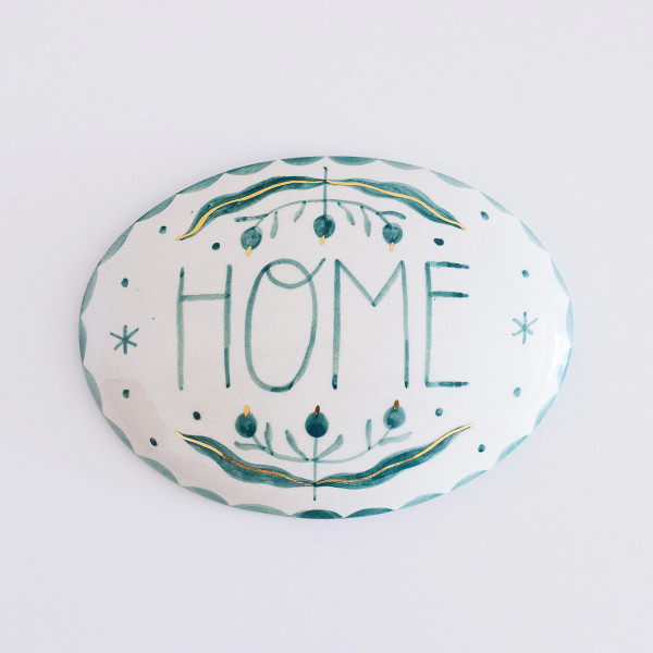 Decorative plate / HOME (teal)