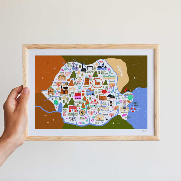 Framed mini-print / MAP OF ROMANIA