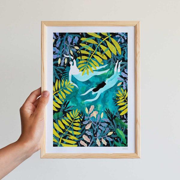 Framed mini-print / NIGHT SWIMMING