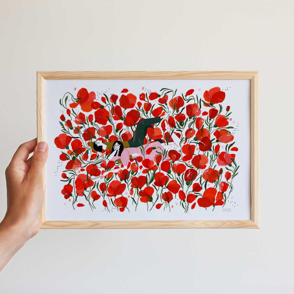 Framed mini-print / PICNIC IN A POPPY FIELD