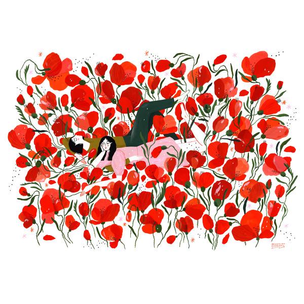 Picnic in a poppy field