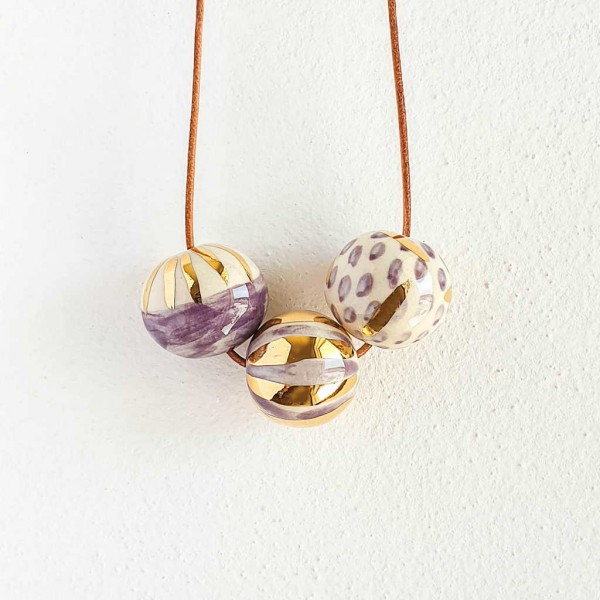 3 Beads Porcelain Necklace #1
