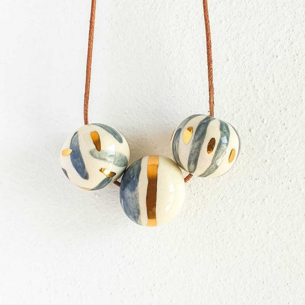 3 Beads Porcelain Necklace #11