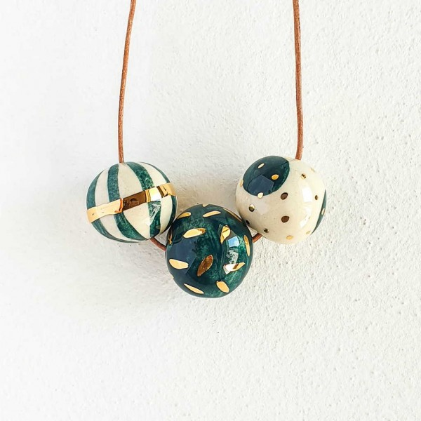 3 Beads Porcelain Necklace #2