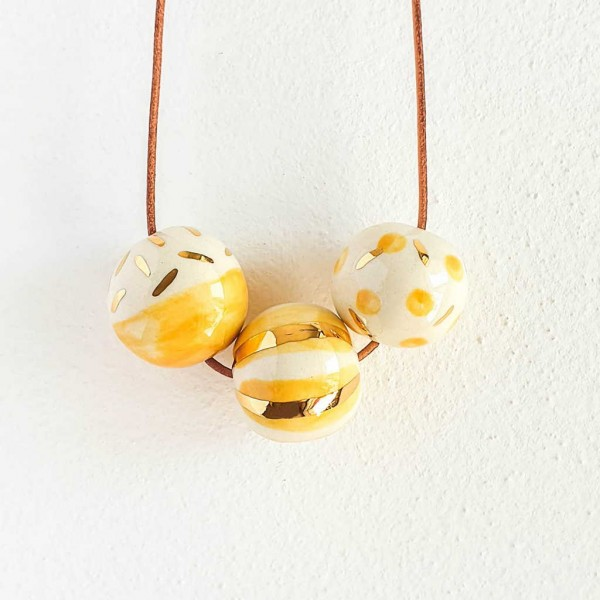 3 Beads Porcelain Necklace #4