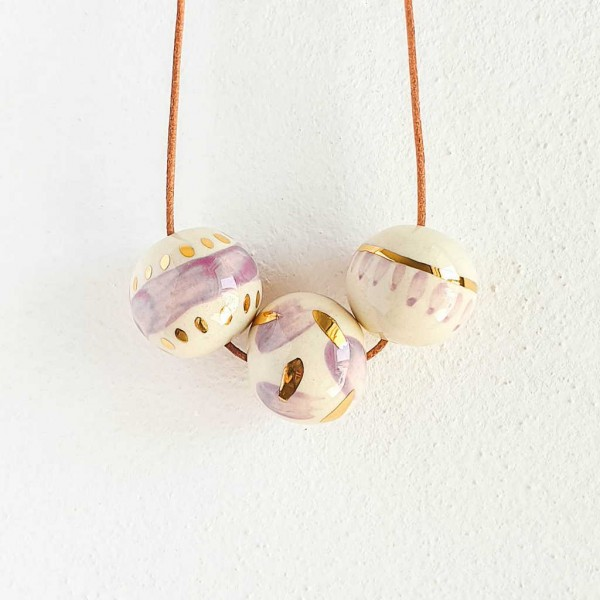 3 Beads Porcelain Necklace #6