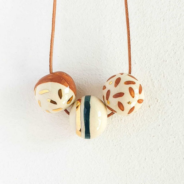 3 Beads Porcelain Necklace #9