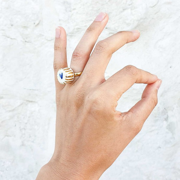 Adjustable Porcelain Ring #11