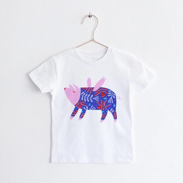 "KIDS T-shirt ""FLYING PIG"" / ROUND NECK TSHIRT"
