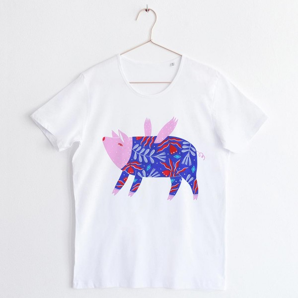 """FLYING PIG"" / SCOOP NECK TSHIRT"