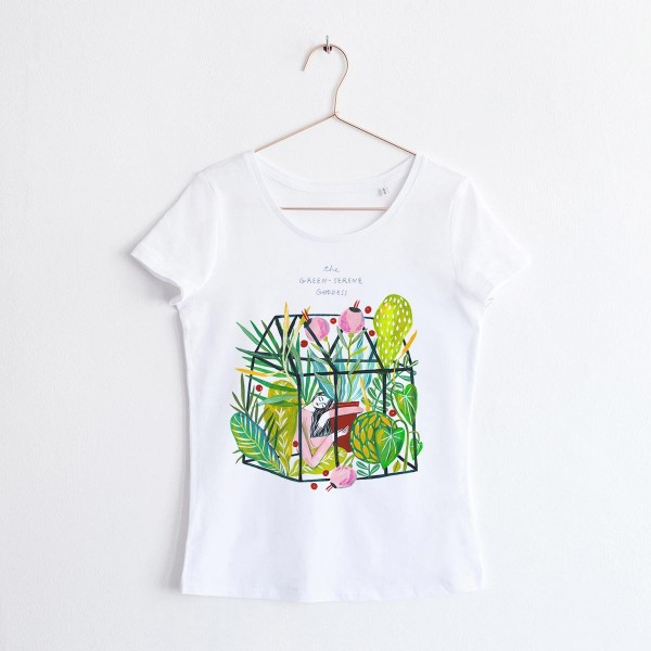 GODDESS OF GREEN-SERENE / SCOOP NECK TSHIRT