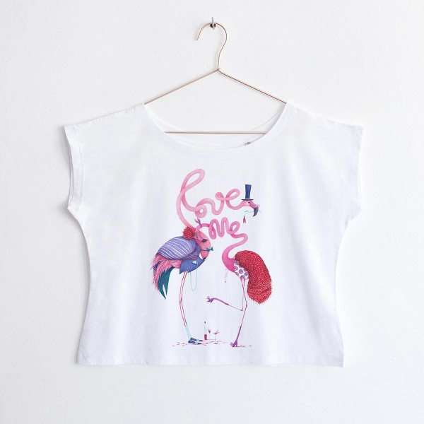 """FLAMINGO"" / OVERSIZED CROPPED TSHIRT"