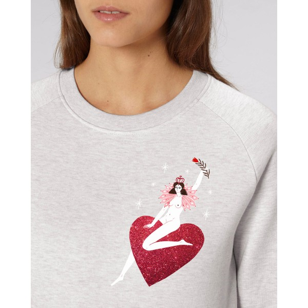 QUEEN OF HEARTS / glitter sweatshirt