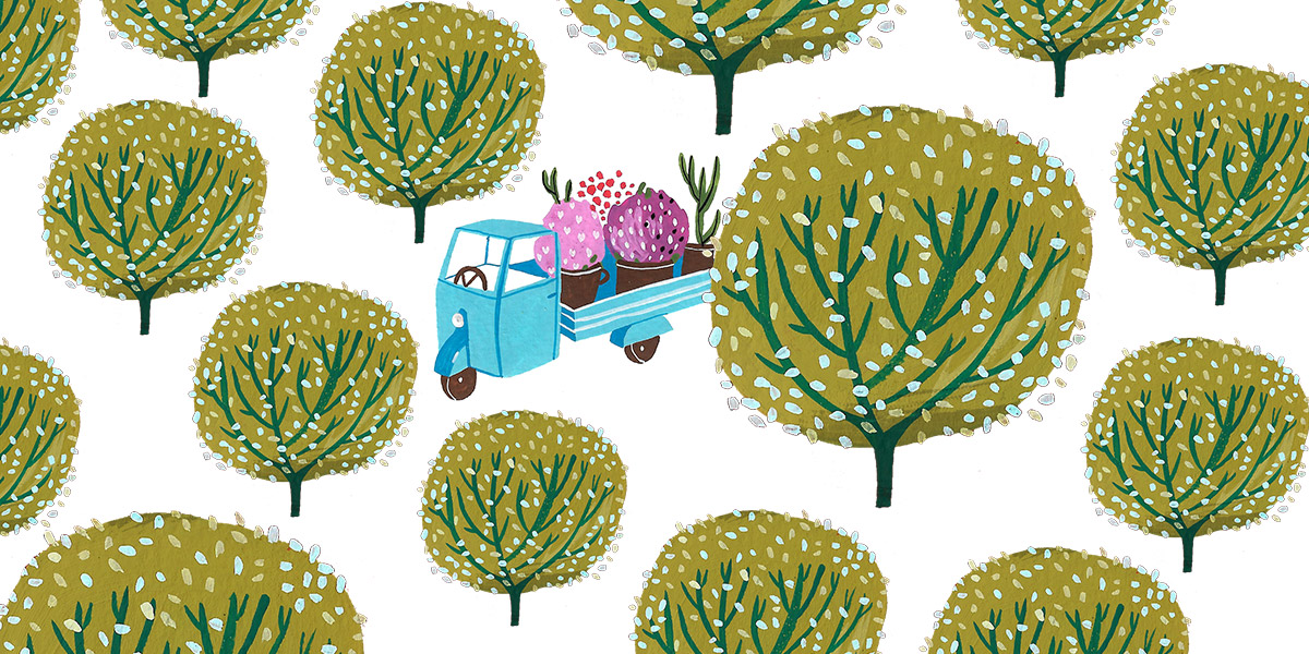 Illustration with an italian Piaggio Ape - italian small vehicle with 3 wheels - in the middle of an olive grove