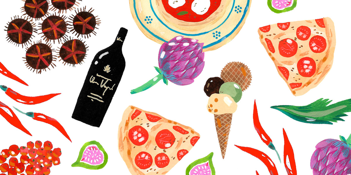 Illustration with italian food and a bottle of italian red wine